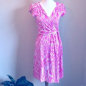 Lilly Pulitzer Pink Zebra Print Wrap Dress
